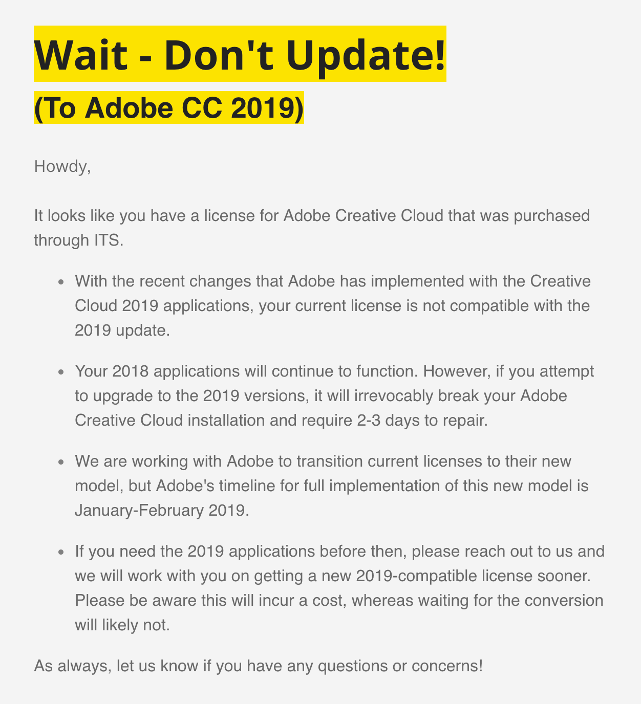 Communication For Adobe Device Licensing Changes